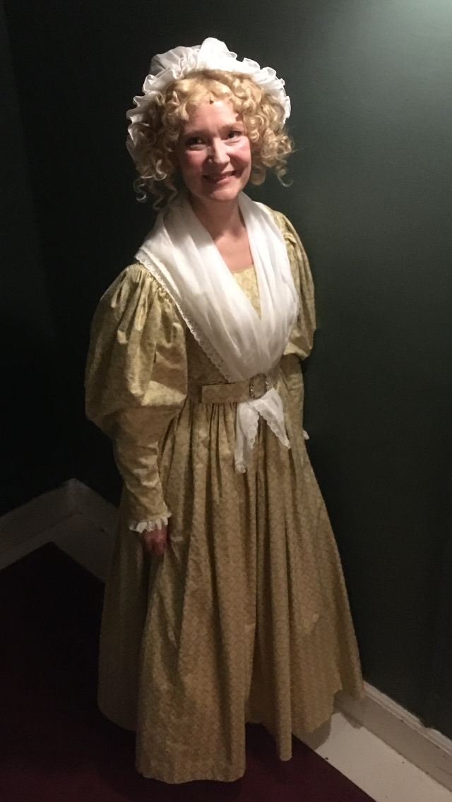 Backstage photo of Mrs Bedwin in Oliver at Det Ny Teater, Copenhagen, 2020.